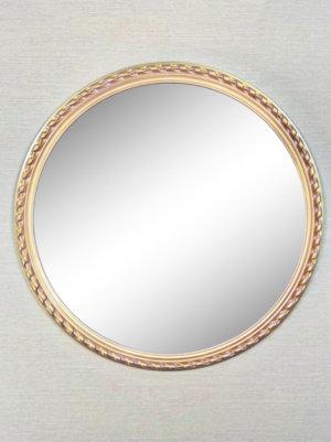 Круглое дизайнерское зеркало в золотистой раме «НИКА»